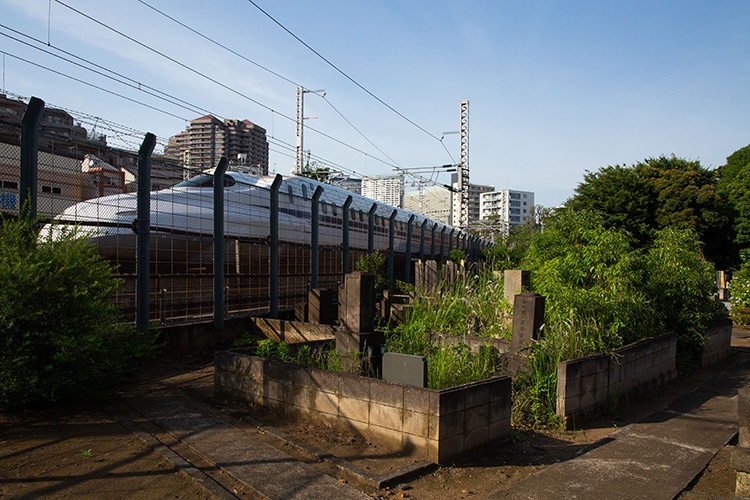 鉄道100景 東海寺大山墓地と新幹線